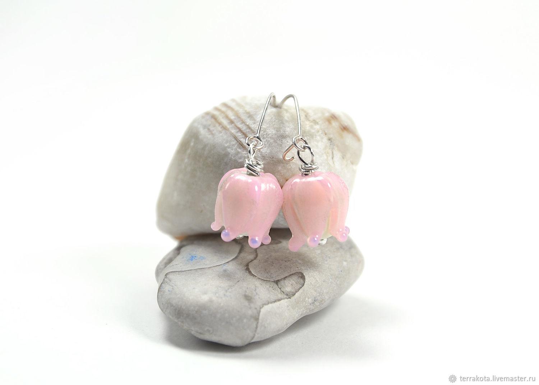 Earrings 'Delicate lilies' lampwork, silver, Earrings, Chelyabinsk,  Фото №1