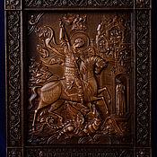 """Иконы ручной работы. Ярмарка Мастеров - ручная работа Икона """"Георгий Победоносец"""" - большая резная икона из дерева. Handmade."""