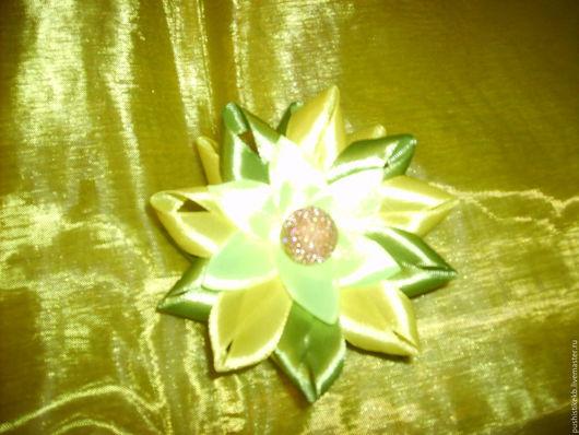 Цветы ручной работы. Ярмарка Мастеров - ручная работа. Купить декоративные цветы. Handmade. Оливковый, атласные ленты