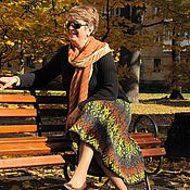 Одежда ручной работы. Ярмарка Мастеров - ручная работа Юбка, вязанная спицами жаккаровым узором Поздняя осень. Handmade.