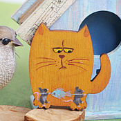 Украшения handmade. Livemaster - original item Brooch wooden Kitten And mouse quite insolent... Handmade.