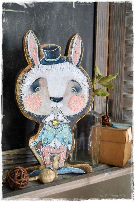 Статуэтки ручной работы. Ярмарка Мастеров - ручная работа. Купить деревянная фигурка Кролик. Handmade. Желтый, кролик
