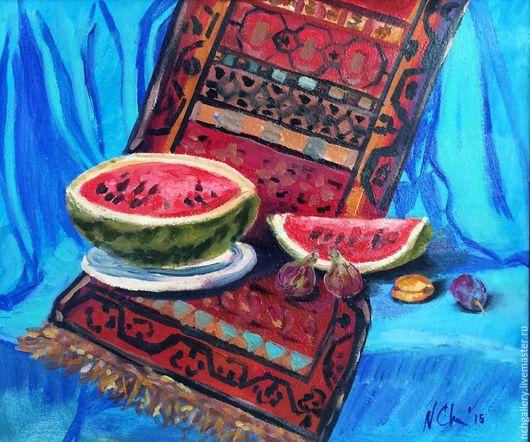 Натюрморт ручной работы. Ярмарка Мастеров - ручная работа. Купить Натюрморт с арбузом. Картина маслом.. Handmade. Бирюзовый, фрукты, кахетия