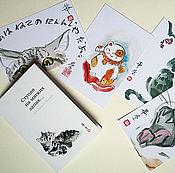 Картины ручной работы. Ярмарка Мастеров - ручная работа Набор открыток-этэгами Ступая на мягких лапах (суми-э )10x15 тушь коты. Handmade.