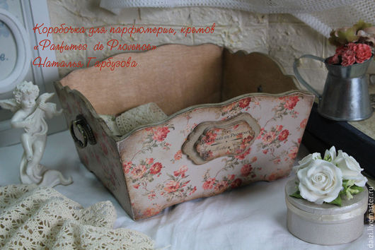 """Корзины, коробы ручной работы. Ярмарка Мастеров - ручная работа. Купить Коробочка под парфюмерию, крема """"Parfumes de Provence"""". Handmade."""