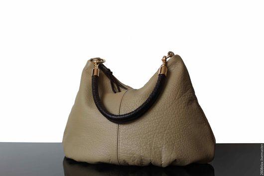 Женские сумки ручной работы. Ярмарка Мастеров - ручная работа. Купить Кожаная сумка, сумка из натуральной кожи, хобо, светлый оливковый. Handmade.