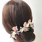 Свадебный салон handmade. Livemaster - original item decorations in the bride`s hairstyle. Hairpins with flowers and butterflies. Handmade.