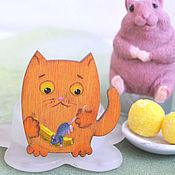 Украшения handmade. Livemaster - original item Wooden brooch Cat and mouse Did not share. Handmade.