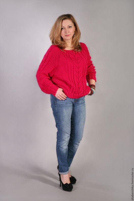 """Кофты и свитера ручной работы. Ярмарка Мастеров - ручная работа. Купить Пуловер """"Малинка"""". Handmade. Вязание на заказ, пуловер вязаный"""