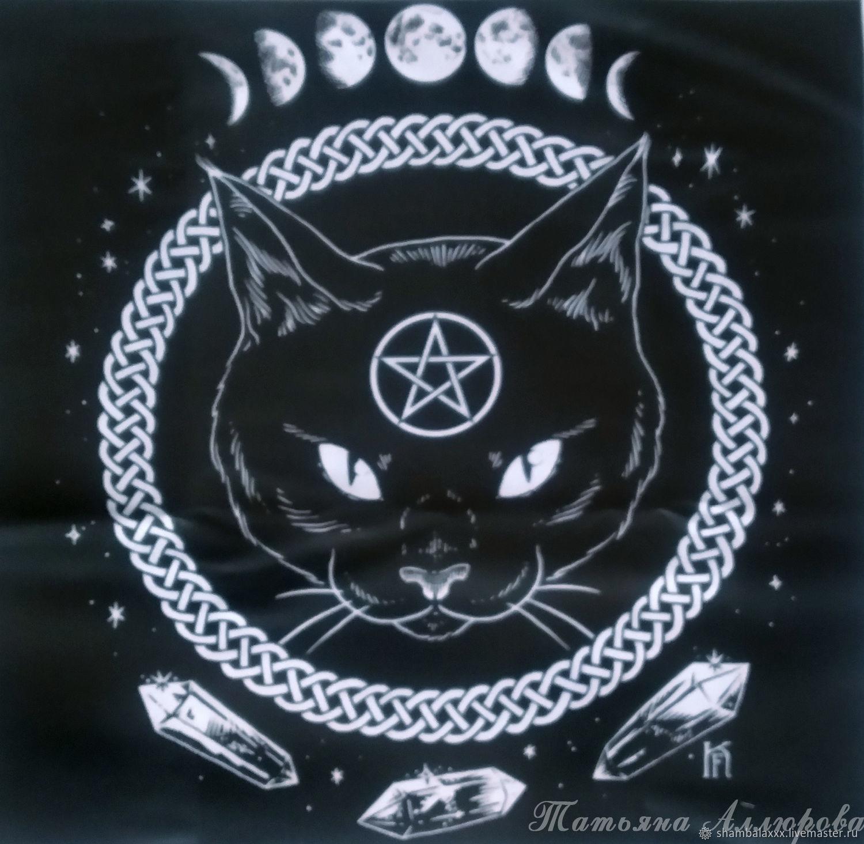 BLACK CAT tablecloth for divination or ritual, 47 x 47 cm, Baggie, Asha,  Фото №1