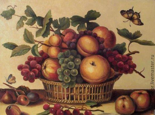 Натюрморт ручной работы. Ярмарка Мастеров - ручная работа. Купить Натюрморт с фруктами. Handmade. Холст, натюрморт, корзина с фруктами, персики