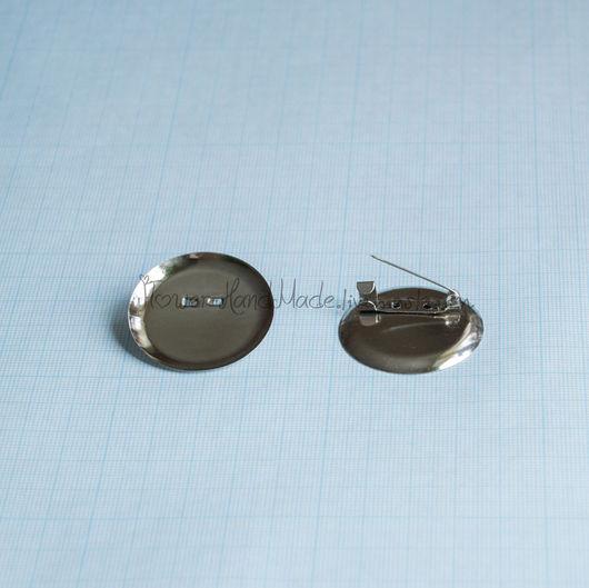 Для украшений ручной работы. Ярмарка Мастеров - ручная работа. Купить Ф097 основа для броши 35 мм под серебро. Handmade.