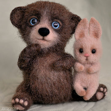 Dolls & toys. Livemaster - original item Bear and Bunny felted toy. Handmade.