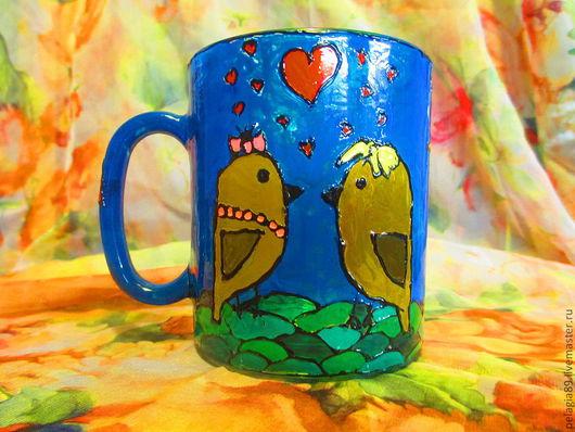 """Кружки и чашки ручной работы. Ярмарка Мастеров - ручная работа. Купить Кружки """"Влюбленные воробушки"""". Handmade. Витраж, птицы, чай"""