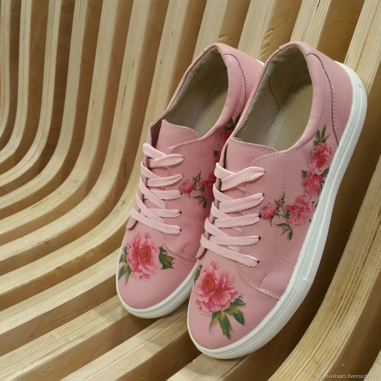 2cd27ab6 Обувь ручной работы. Ярмарка Мастеров - ручная работа. Купить Розовые кеды  с цветами.