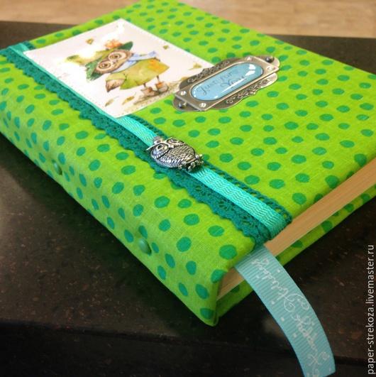 """Блокноты ручной работы. Ярмарка Мастеров - ручная работа. Купить блокнот """"Мудрая сова"""". Handmade. Ярко-зелёный, ежедневник, сова"""