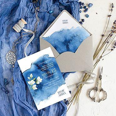 """Свадебный салон ручной работы. Ярмарка Мастеров - ручная работа Приглашения """"Ариэль"""", в конверте с сургучем. Handmade."""