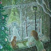 Картины и панно ручной работы. Ярмарка Мастеров - ручная работа Окно в Париж. Картина на органзе. Handmade.