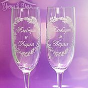Свадебный салон handmade. Livemaster - original item Wedding glasses, engraved with