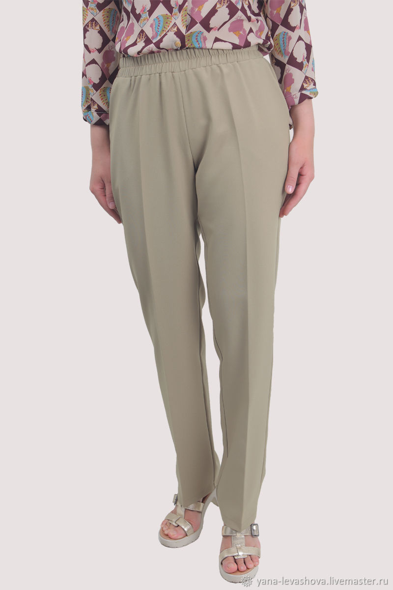 Classic straight trousers with elastic band beige, Child pants, Moscow,  Фото №1