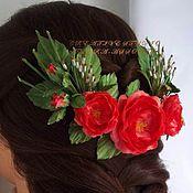 Свадебный салон ручной работы. Ярмарка Мастеров - ручная работа Полувеночек для украшения волос «Коралловый рассвет». Handmade.