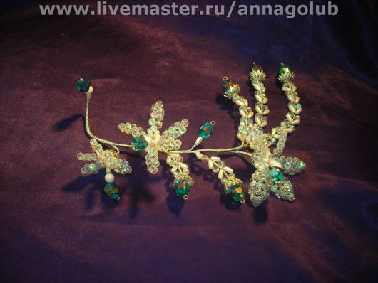 Свадебные украшения ручной работы. Ярмарка Мастеров - ручная работа. Купить Хрустальная орхидея. Handmade. Бирюзовый, выпускной, проволока, стекло