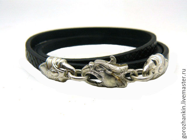 Bracelet `Griffin` leather 925 sterling silver buy bracelet to give the `Griffin` girl, woman for New year, birthday, March 8, February 14-Valentine's day, every day
