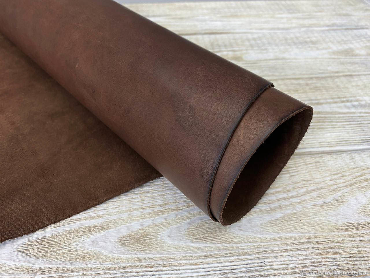 Натуральная кожа 1.6-1.8 мм Brown waxy – заказать на Ярмарке Мастеров – MGYIQRU   Кожа, Оренбург