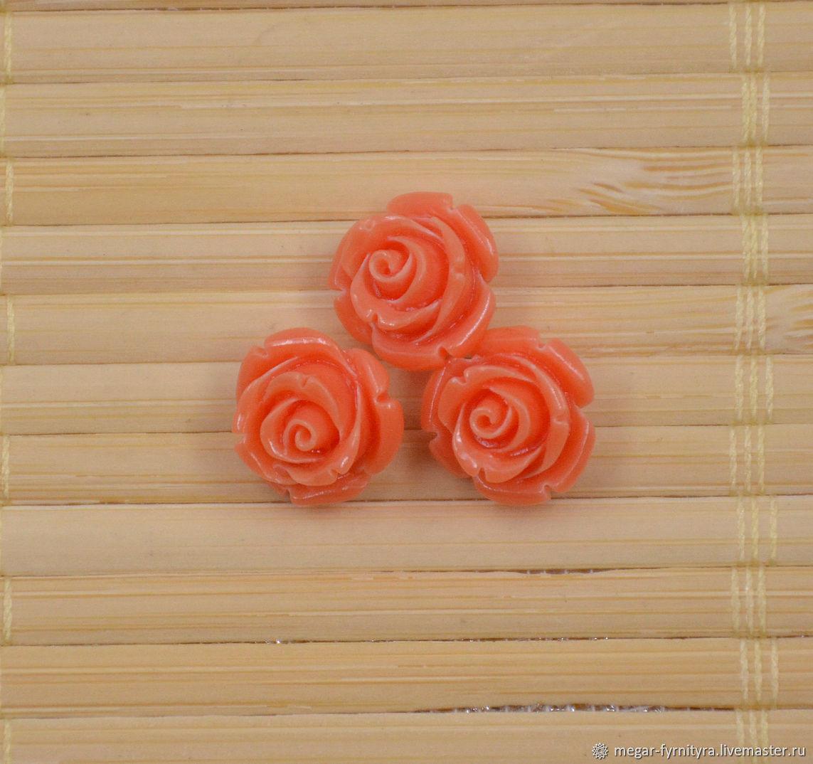 Резная роза 12 мм Оранжевая, Бусины, Колпино,  Фото №1