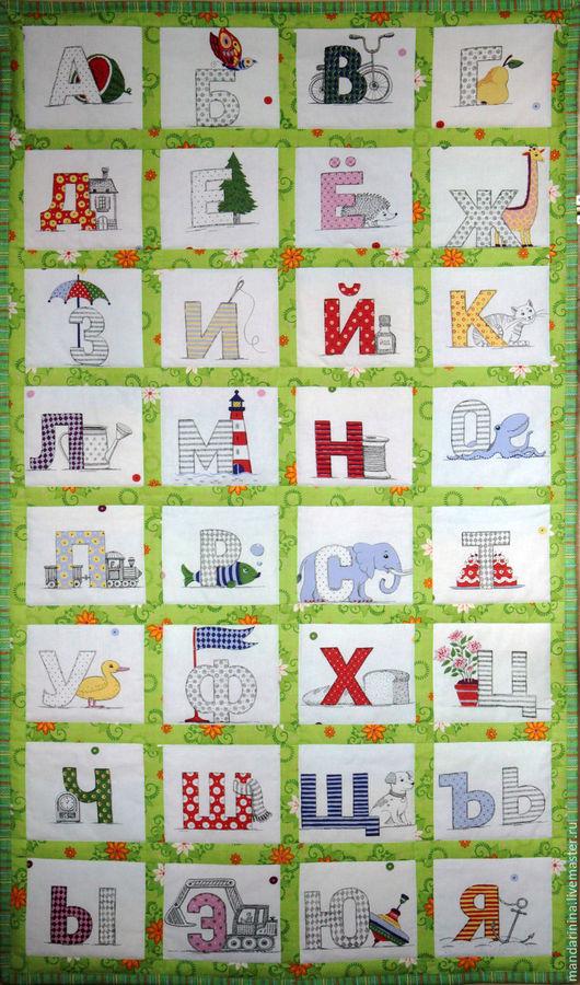 """Детская ручной работы. Ярмарка Мастеров - ручная работа. Купить Панно """"Алфавит"""" для детей. Handmade. Зеленый, панно, панно настенное"""