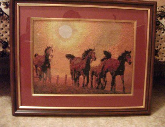 """Животные ручной работы. Ярмарка Мастеров - ручная работа. Купить Картина """"Табун на закате"""". Handmade. Вышивка, комбинированный"""