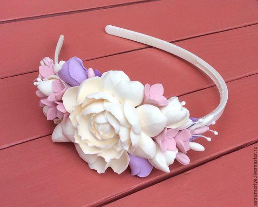 Диадемы, обручи ручной работы. Ярмарка Мастеров - ручная работа. Купить Ободок с цветами из полимерной глины Нежность. Handmade.