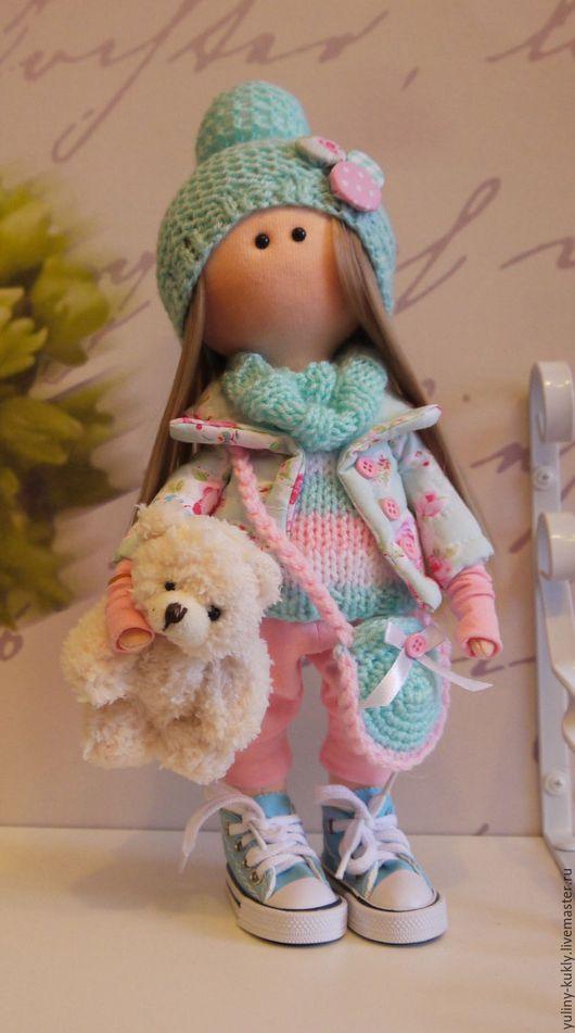 Коллекционные куклы ручной работы. Ярмарка Мастеров - ручная работа. Купить Текстильная куколка-малышка Алена. Handmade. Мятный, блондинка