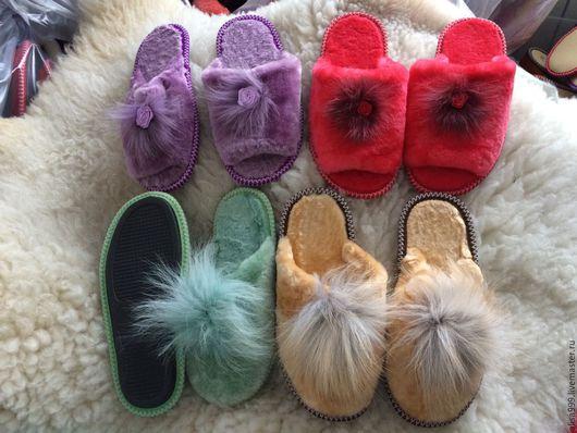 Обувь ручной работы. Ярмарка Мастеров - ручная работа. Купить Красивые девичьи тапочки из овчины. Handmade. Тапочки, тапочки из меха