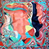 """Аксессуары ручной работы. Ярмарка Мастеров - ручная работа Батик платок""""Двое""""из серии""""Климт"""". Handmade."""