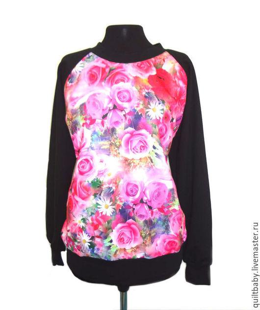 """Блузки ручной работы. Ярмарка Мастеров - ручная работа. Купить Свитшот """"Розовые розы"""". Handmade. Черный, свитшот, блузка"""