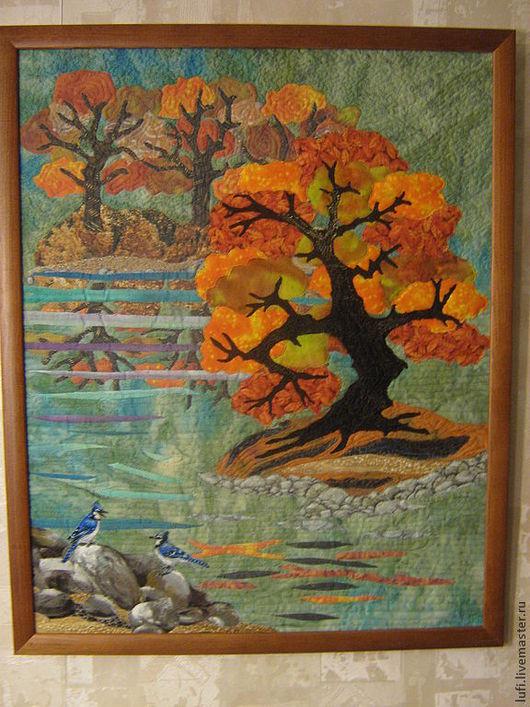 Пейзаж ручной работы. Ярмарка Мастеров - ручная работа. Купить Осенний пруд. Handmade. Пейзаж, осень, картина для интерьера, органза