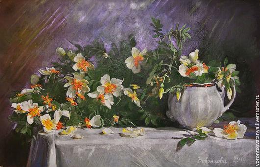 """Картины цветов ручной работы. Ярмарка Мастеров - ручная работа. Купить """"Шиповник"""". Handmade. Разноцветный, цветы, натюрморт с цветами"""