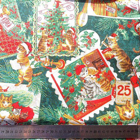 Шитье ручной работы. Ярмарка Мастеров - ручная работа. Купить Новогодняя ткань для пэчворка Котэ металлик на зеленом. Handmade. Пэчворк