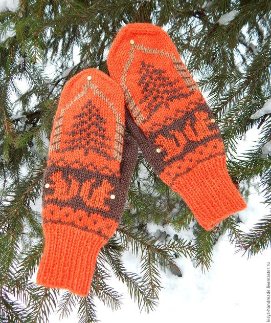 """Варежки, митенки, перчатки ручной работы. Ярмарка Мастеров - ручная работа. Купить Варежки """"Белка песенки поёт"""". Handmade. Оранжевый"""