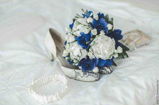 """Свадебные цветы ручной работы. Ярмарка Мастеров - ручная работа. Купить Букет невесты """"Морской"""". Handmade. Синий, морской"""