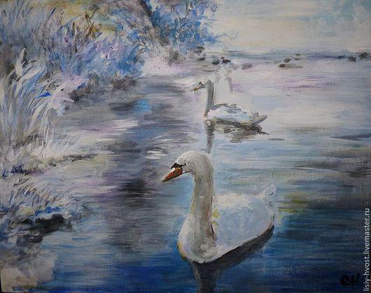 """Пейзаж ручной работы. Ярмарка Мастеров - ручная работа. Купить Картина """"Лебединое озеро. Зима"""" (пейзаж). Handmade. Голубой"""