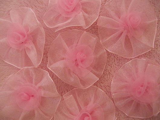 Аппликации, вставки, отделка ручной работы. Ярмарка Мастеров - ручная работа. Купить ЦВЕТЫ розовые из органзы 65 мм. Handmade.