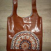 Сумки и аксессуары handmade. Livemaster - original item Eco-friendly shopping bag Made of eco-leather with applique. Handmade.