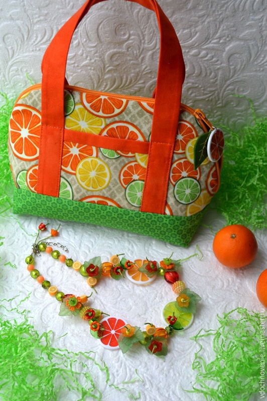 The set for girls 'Colored slices' (necklace and handbag), Bags, Kolomna, Фото №1