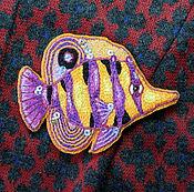 Украшения ручной работы. Ярмарка Мастеров - ручная работа Вышитые броши Рыбы-бабочки. Handmade.