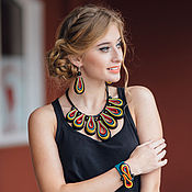 Украшения handmade. Livemaster - original item Jewelry set leather CVU. Necklace, Bracelet, Earrings.. Handmade.