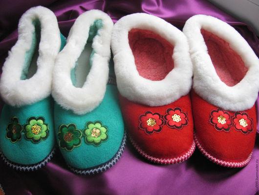 Обувь ручной работы. Ярмарка Мастеров - ручная работа. Купить Меховые тапочки на мягкой подошве. Handmade. Серый, натуральный мех