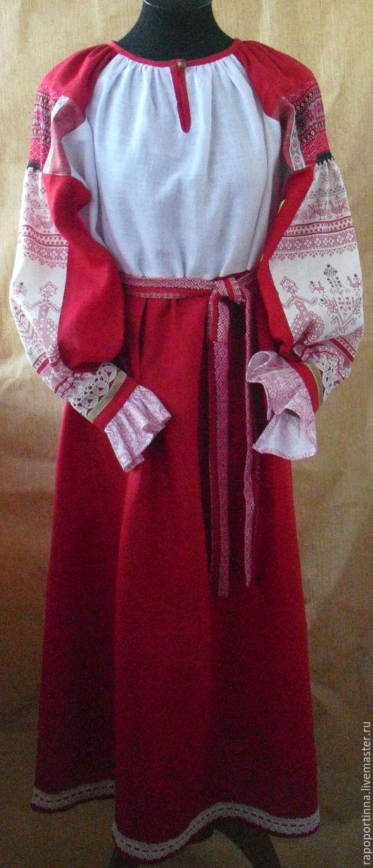"""Одежда ручной работы. Ярмарка Мастеров - ручная работа. Купить Рубаха льняная  женская """"Настасья"""". Handmade. Ярко-красный"""