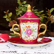 Винтаж handmade. Livemaster - original item De Couleuvre, Paris.Vintage cup with handles and lid.. Handmade.